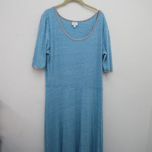 Lularoe Blue Scoop Neck Stretch Loose Maxi Dress